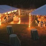 Parallel Tents with Dance Floor and Globe Lighting